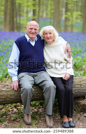 Mature family, healthy caring senior couple, hiking in beautiful spring forest, enjoying nature and blooming bluebells or wild hyacinth flowers - active retirement concept - stock photo