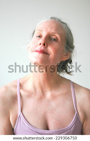 Mature female blond beauty with anorexia. - stock photo