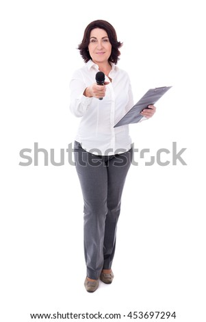 mature female reporter with microphone and clipboard isolated on white background