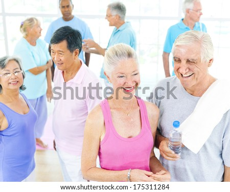 Mature Fitness Group - stock photo