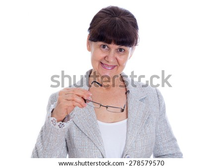 Mature good looking woman with glasses. Portrait - stock photo