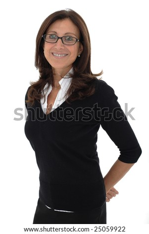 Mature happy businesswoman isolated over white background