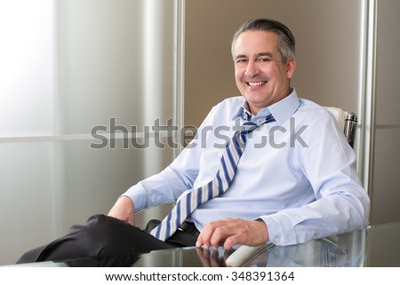 Mature happy smiling business man at his desk - stock photo