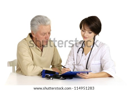 Mature man came to the reception to the young doctor