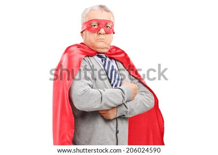 Mature man in superhero costume isolated on white background - stock photo