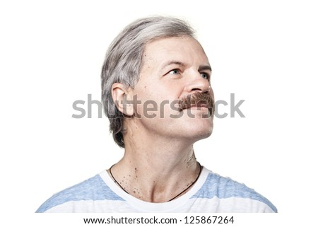 mature man look into the distance isolated on white background
