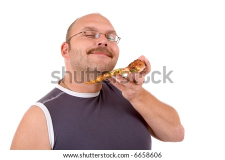 Mature man looking very pleased while smelling his pizza