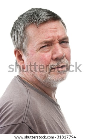 Mature man of 58 years, with white stubbly beard, 2/3 view head & shoulders, isolated on white