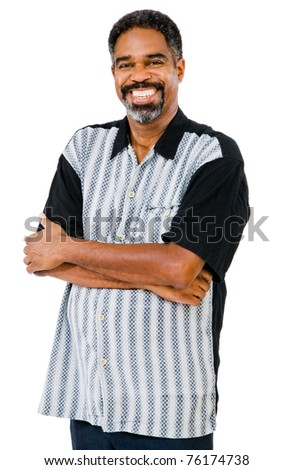 Mature man posing and smiling isolated over white