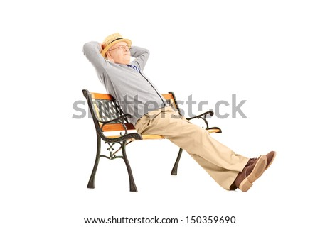 Mature man sitting on a wooden bench isolated on white background - stock photo
