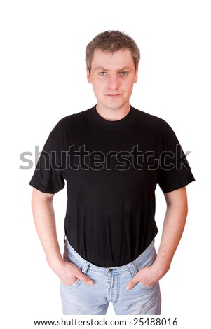 Mature man wearing black t-shirt isolated on white - stock photo