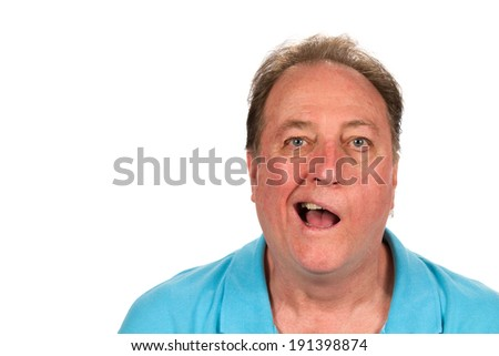 Mature man with Bell's palsy talking while half the face is paralyzed. - stock photo