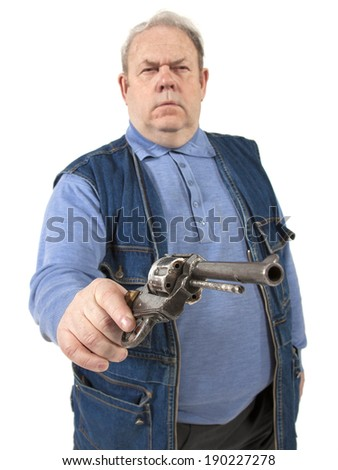 mature man with gun in hand - stock photo