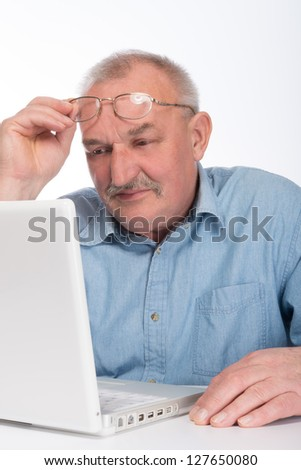 Mature man with laptop
