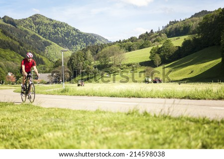 Mature man with racing bicycle, Freiburg, Germany - stock photo