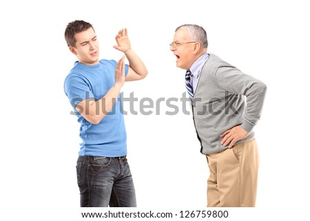 Mature man yelling at a guy isolated on white background