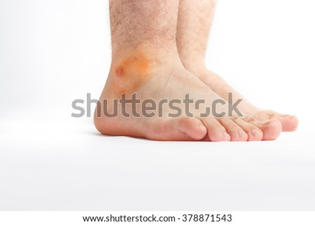 Mature men foot isolated on white background