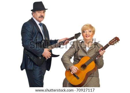 Mature musicians band playing guitar isolated on white background - stock photo