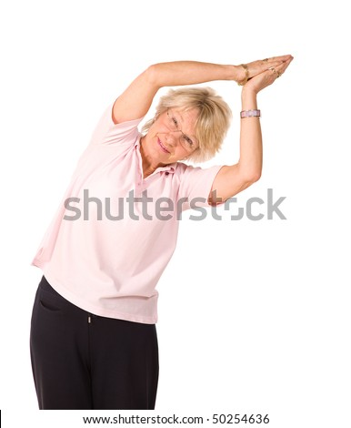 Mature older lady in yoga position, isolated on white background - stock photo