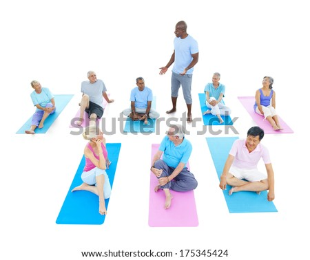 Mature People Doing Yoga - stock photo