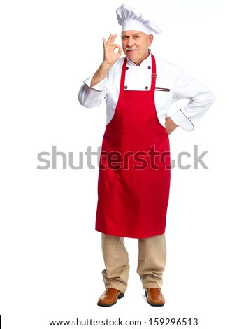 Mature professional chef man. Isolated over white background