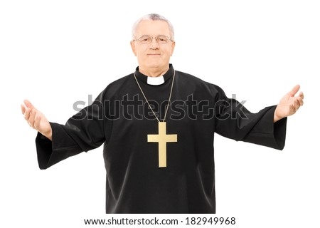 Mature reverend in black mantle with open hands isolated on white background