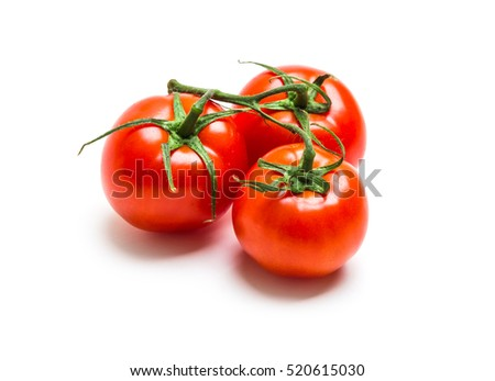 Mature ripe red tomato Isolated on white background