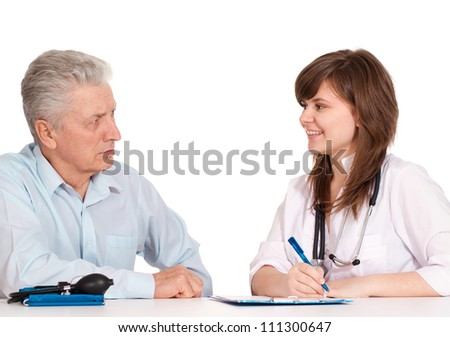 Mature senior  came to the reception to the young doctor