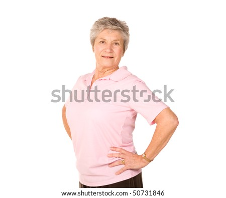 Mature senior lady performing stretching exercises before gym workout - stock photo