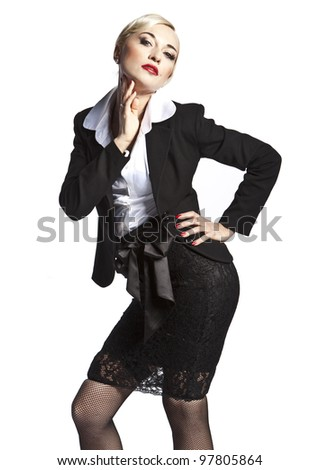 mature sexy blonde posing in a black suit on white background - stock photo