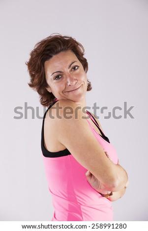 Mature sport woman portrait - stock photo