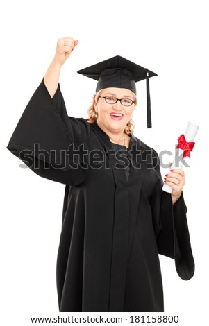 Mature student holding a diploma and gesturing happiness isolated on white background