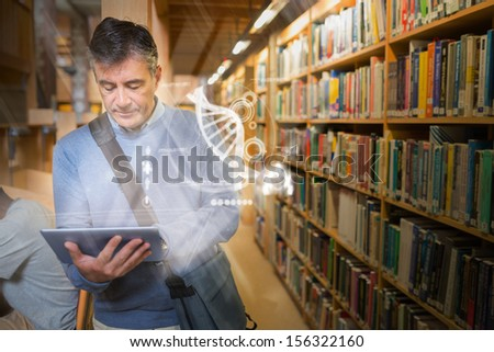 Mature student using futuristic hologram to learn science from his tablet standing the college library