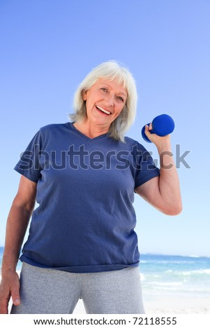 Mature woman doing her exercises