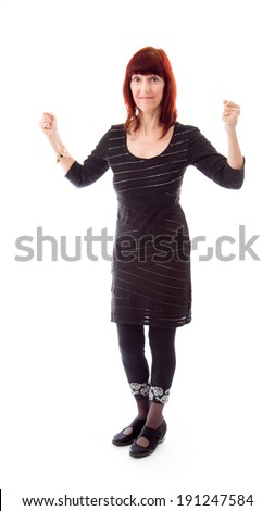 Mature woman excited - stock photo