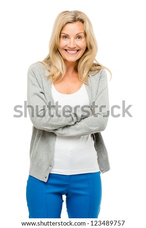 Mature woman excited isolated on white background
