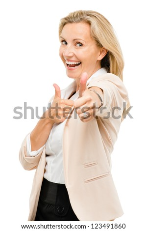 Mature woman giving thumbs up sign isolated on white background - stock photo