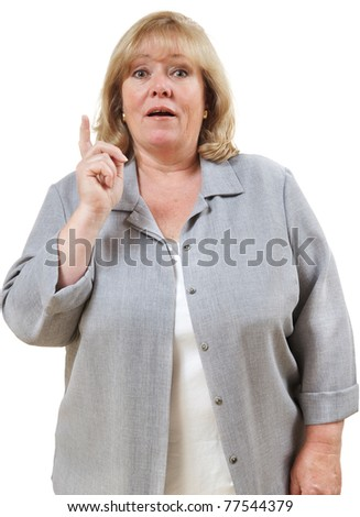 "Mature woman has an ""aha"" moment - stock photo"