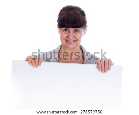 Mature woman leaning on white banner. Portrait against of white background - stock photo