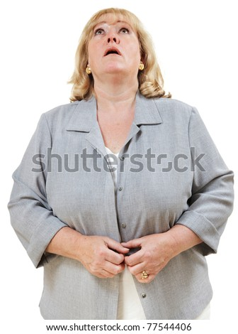 Mature woman looking directly up