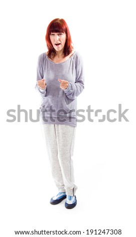 Mature woman looking excited - stock photo