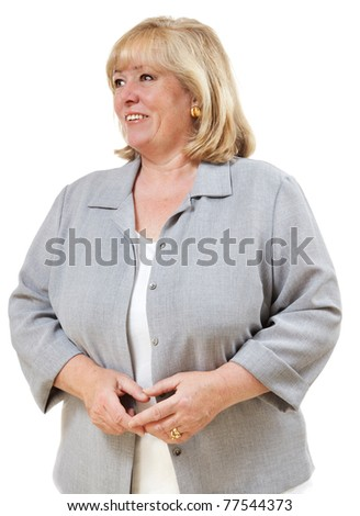 Mature woman looking over to her right - stock photo