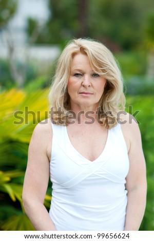 mature woman natural beauty portrait outside - stock photo
