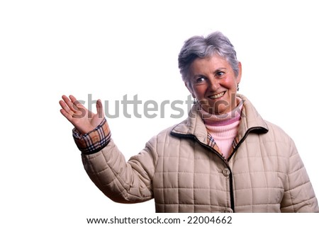 mature woman over white background