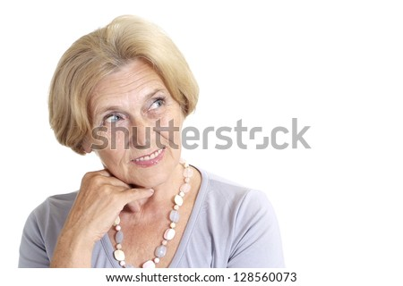 Mature woman relaxing at home on a white background