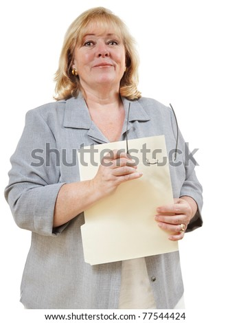 Mature woman smiles confidently - stock photo