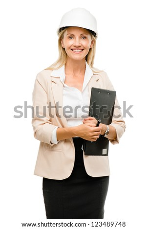 Mature woman supervisor wearing hard hat isolated on white background - stock photo