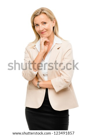 Mature woman thinking isolated on white background