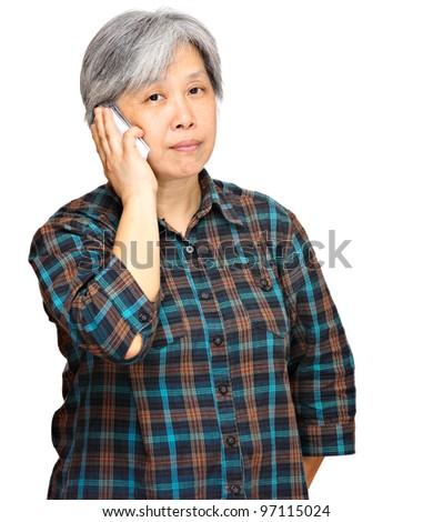 mature woman using mobile phone - stock photo