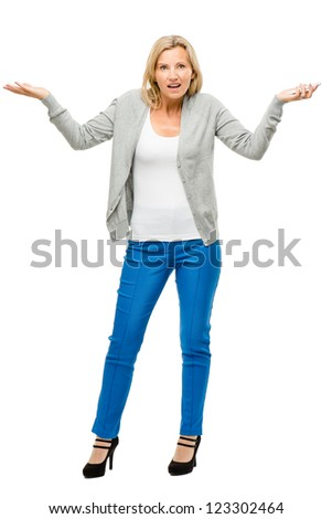 Mature woman using mobile phone isolated on white background